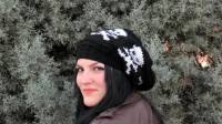 Slouchy knit hats for Women Skull Knit Hat in by EmofoFashion