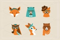 Hipster Animals & 22 icons ~ Illustrations on Creative Market