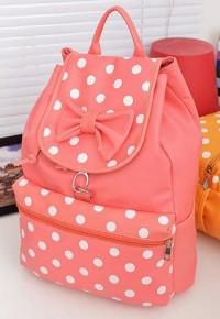 shego shopping mall — [grzxy6200078]Sweet Fresh Polka Dot Print Bowknot Backpack