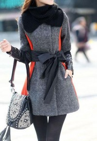 shego shopping mall — [grzxy6600641]Trendsetting Elegant Mixing Color Bowknot Worsted Coat with Infinity Scarf