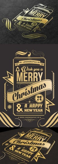 Christmas card typography gold stamp 2014 - Inspiration DE