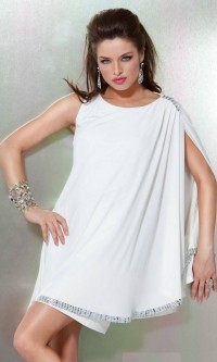 Draping Shoulder Sleeve Rhinestonne Trim Short High Neck Open White Prom Dress [v1128u1323] - $123.50 : Cheap Prom Dresses,Party Dresses,Evenning Dresses,etc...Online.