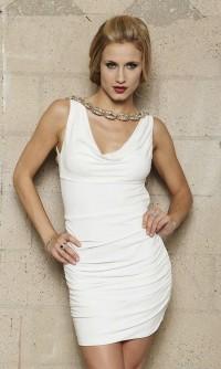 Chain Detail Open Back Short V Neck White Prom Dress [v1128u1325] - $123.50 : Cheap Prom Dresses,Party Dresses,Evenning Dresses,etc...Online.