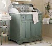 Lucca High Backsplash Single Sink Console - Antique White   Pottery Barn