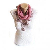 Pink hand knit scarf winter cowl neck warmer by selenayselenay