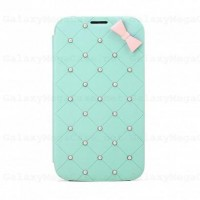 8thDays Fairy Pearl Flip Leather Cover For Galaxy Mega 6.3 i9200 Seafoam
