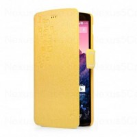 Der Ice Series Stand Flip Leather Cover Case for Google Nexus 5 Yellow