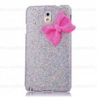 Glitter Case Cover With Bowknot for Samsung Galaxy Note 3 N9000 Silver