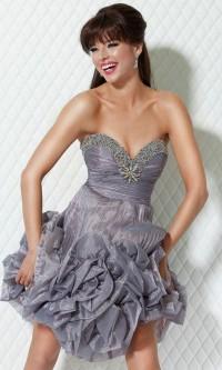 Rhinestone Trim Ruffled Skirt Short Strapless Sweetheart Ruched Silver Prom Dress [v1203u0749] - $141.70 : Cheap Prom Dresses,Party Dresses,Evenning Dresses,etc...Online.
