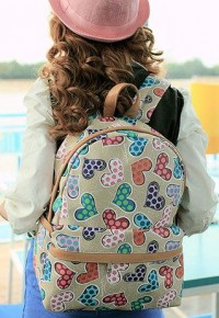 shego shopping mall — [grzxy62000170]Versatile Casual Students Mixed Colors Heart Shape Cute Preppy Backpack