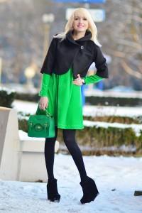 "Aquamarine Promod Bags, Black Terra Di Siena Jackets | ""GREEN DRESS"" by Moonon - Chictopia"