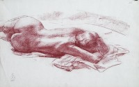 """Lying"" nude art - sauce-crayon, sanguine drawing"