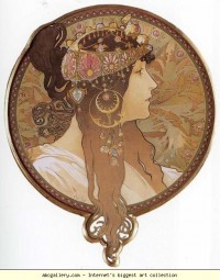 Alphonse Mucha. Byzantine Head: The Brunette - Olga's Gallery