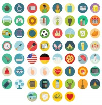 Free Flat Round Icons Set – 60 Icons - FreebiesXpress