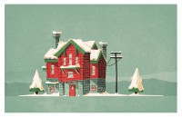 Log cabin christmas card on