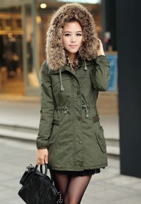 shego shopping mall — [grzxy6601044]Drawstring Hooded Padded Jacket Thick Classic Military Coat Parka