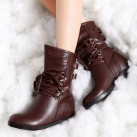 shego shopping mall — [grzxy61900215]Retro Strap Buckle Solid Color Inside Wedge Combat Boots