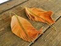 8. Leather Feather Earrings