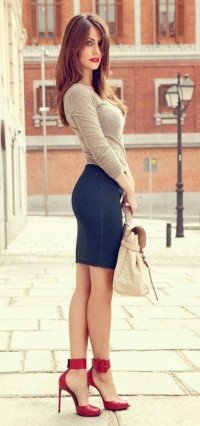Stylish mini skirt with blouse,handbag and high heels | Inspiration DE