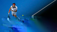 Glitch News, Roger Federer of Switzerland serves to Blaz Kavcic...