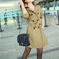 shego shopping mall — [grzxy6601043]Classic Style Double Breast Belted Long Jacket Tunic Coat
