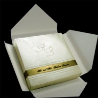 Wedding invitations Gold and Ivory Boxed Couture by JustEmbossed