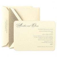 Embassy 24 kt. Gold Beveled Ecruwhite Invitation Set - Wedding Invitations | Crane.com
