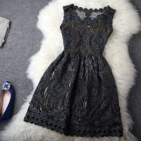 shego shopping mall — [grzxy6601068]Vintage Embroidery Crochet Hollow Out Sleeveless Gathered Waist Tank Dress