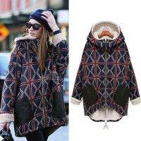 shego shopping mall — [grzxy6601057]Hourglasses Print Split Hem Hooded Padded Jacket Parka Coat