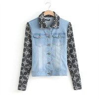 lilystyle | Stylish Cool Contrast Color Floral Print Spliced Denim Jacket | Online Store Powered by Storenvy
