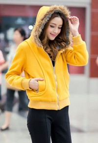 shego shopping mall — [grzxy6601035]Sports Style Candy Color Hooded Padded Jacket Short Sweatshirt Coat