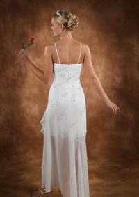 Beautiful column Scoop neckline with Spaghetti Straps tea-length 2010 sexy wedding dress MYIWDS0161 [MYIWDS0161] - US$114.00 : Myidress.com
