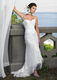 Elegant sleeveless sexy beach wedding dresses with spaghetti strap, ruched sweetheart bust line and dropped waistline MYIWDS0233 [MYIWDS0233] - US$157.00 : Myidress.com