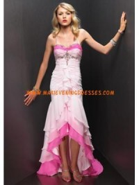 Low High Hem Sheath Ruffled Tiers Satin Prom gown