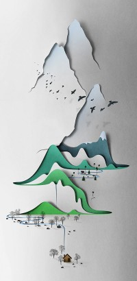 Vertical Landscape - Papercut Illustration by Eiko Ojala