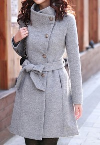 shego shopping mall — [grzxy6600525]European Style Slim Bowknot Sash Pure Color Worsted Coat