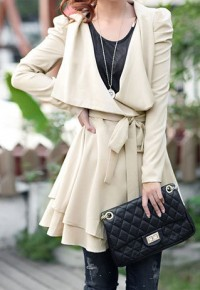 shego shopping mall — [grzxy6600444]European Style Shirred Sash Bowknot Pure Color Lapel Trench Coat