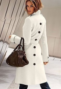 shego shopping mall — [grzxy6600963]Shoulder Epaulets Single Breast Belted Buttons Long Jacket Coat Tunic