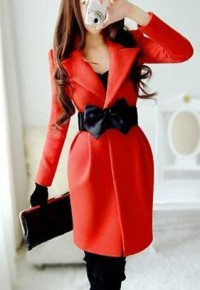 shego shopping mall — [grzxy6600981]Belted Notched Collar Red Black Long Jacket Slim Fit Coat Tunic