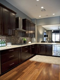 Espresso cabinets and grey walls from HGTV Design Star Britanys portfolio. Gorgeous! Dream kitchen. | Inspiration DE