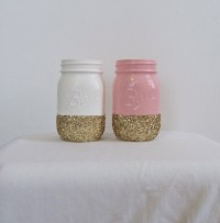 Pale Pink and Bright White Glitter Mason Jars by JessCathDesigns