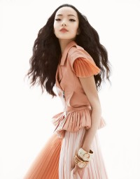 Xiao Wen Ju by Greg Kadel for Vogue China March 2013 - pale coral salmon pink.jpg (800×1023)
