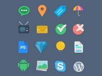 16 Flat Web Icons - FreebiesXpress