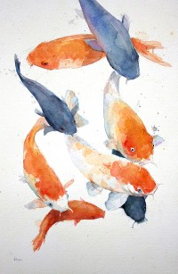 "Allen Egan: ""Koi Carp"", Watercolor. 