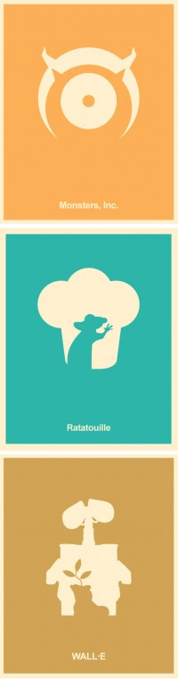 Pixar Minimalist Poster Set Monsters Inc A by Posterinspired