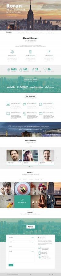 Roran - Free One Page PSD Template - FreebiesXpress