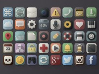 40 Long Shadow PSD Icons - FreebiesXpress