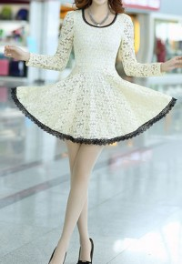 shego shopping mall — [grzxy6601132]Bowknot Long Sleeve Crochet Lace Shift Skater Dress