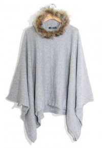 shego shopping mall — [grzxy6601130]Batwing Dolman Sleeves Grey Cloak Poncho Coat Hooded Jacket