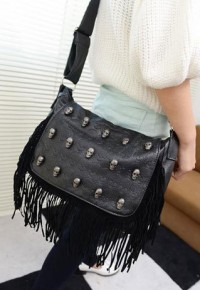 shego shopping mall — [grzxy62000246]Tassel Skull Head Rivets Sequins Black Satchel Shoulder Crossbody Bag